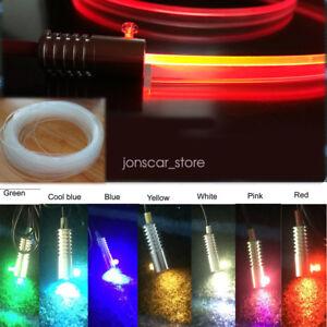 3.0mm 16ft Plastic Skirt Side Glow Optic Fiber Cable W/ Car USB LED Light Decor