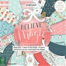 DOVECRAFT BELIEVE IN MAGIC CRAFT PAPERS 8 X 8 SAMPLE PACK 16 SHEETS POSTAGE DEAL