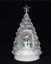 Sigro  LED Baum mit Schneemann kaltweiß 33 cm Acryl mit Glitterwirbel 540070SM