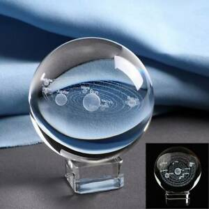 UK 3D Solar System Crystal Ball Planets Glass Ball Engraved Globe 60MM+Stand