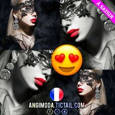 ❤ Sexy Femme Masque ❤ Dentelle Noire Costume Déguisement Soirée Sexy Libertin ❤
