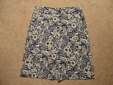 Sz 4 Women Skirt ANNE KLEIN AK JEANS Blue Off-white Floral Cotton Stretch Knee
