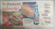 "7-Up Ad: The ""All"" Family Drink ! ""Stackwich""  ! from 1950's  7.5 x 15 inches"