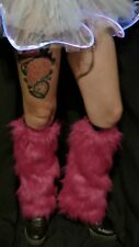 Pink Furry Leg Warmers -  One Size - Fluffies party dance HOT PINK