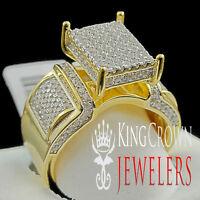 Real 925 Silver Engagement 14k Yellow Gold Finish Bridal Lab Diamond Square Ring