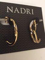 $55 Nadri Gold Tone Crystal Hoop Earrings #114