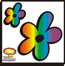 24 Rainbow Daisy Flowers Car Stickers decals graphics walls, any smooth surface