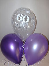 Purple Lilac & Clear Printed 60th BIRTHDAY BALLOONS Party Decorations x15 Helium