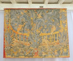 """Vintage French Aubusson Tapestry Medieval Scenery 73"""" x 56"""" (184x141cm) C.1950"""