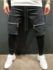 Men's Casual Zipper Pocket Hip Hop Jogger Sweatpants Slim Fit Pants Trousers