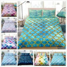 Mermaid Duvet Cover Set Magic Fish Scales Printed Design Mermaid Bedding Sets