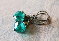 Peacock Green Glass Beaded Earrings vintage style bronze leverback dangle
