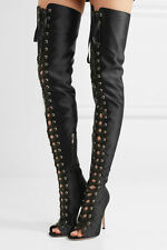 GIANVITO ROSSI MARIE LACE-UP SATIN OVER-THE-KNEE BOOTS UK 5.5 EU 38.5 US 8.5