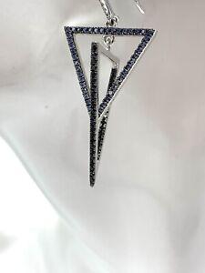 Sterling Silver Blue Sapphire Diamond Double Triangle Dangle Drop Earrings