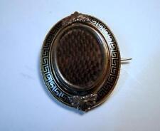 Victorian Woven Hair Mourning Pin 18K Gold w Black Greek Key Enamel Swivel Frame