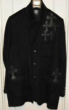 Men's-Designer-Raw-7-Royalty-Blk-Wool-Cashmere-Blazer-Jacket-Coat-Size 50-XXL-2X