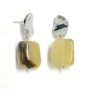 Square Dangle Earrings Pale Amber Yellow Acrylic