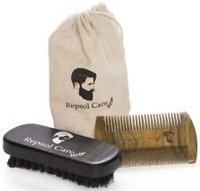 Beard Brush and Comb Kit Grooming Handmade Comb-Natural Boar Bristle Brush Groom