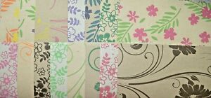 """16 x 12"""" Sq Assorted Floral Printed Kraft Backing Papers NEW"""