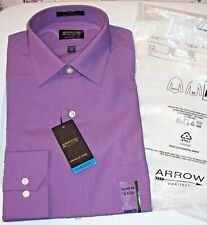 NWT SEALED Mens 15 32/33 Premium ARROW W/F DRESS SHIRT $45 Solid Violet