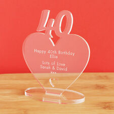 40th Birthday Personalised Milestone Heart Keepsake Gift Idea for HIM OR HER!