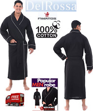 Men's Cotton Robe, Lightweight Woven Bathrobe,3XL Black, By Alexander Del Rossa