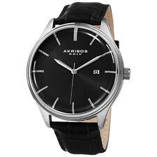 Men's Akribos XXIV AK914SSB Black Leather Embossed Crocodile Pattern Watch