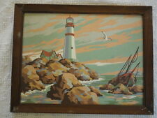 "Vintage PBN Paint by Number Painting Lighthouse and Shipwreck (14""X 18"")"