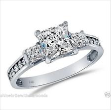 2.50 CT anillo de compromiso de boda 3-Piedra 14K Oro Blanco Diamante simulación real