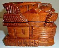 New Honduras Hand Carved Hinged Wooden Hinged Trinket Box Village Scene Houses