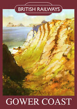 Gower Coast Vintage British Railways Poster (repro) - Seaside / Landmark A4
