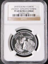 Korea 2010 Unesco - Jongmyo Shrine Siver Proof Coin NGC PF68