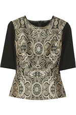 RAOUL Leather-Trimmed metallic Jacquard Print Fitted Jersey Top  .NWT  SZ. 2