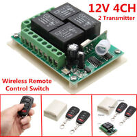 ☛12V 4CH Channel Relay RF Wireless Remote Control Switch Receiver +2 Transmitter