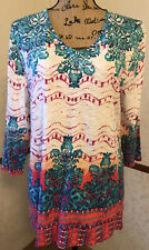 Chico's Blue & Pink Colorful Print V Neck 3/4 Sleeve Tunic Top - Chico's Size 2