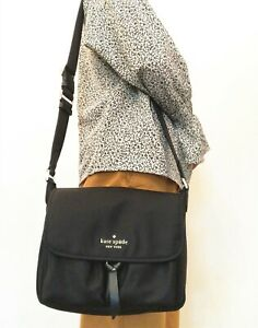 NWT KATE SPADE Carley Nylon Messenger Bag Crossbody Shoulder Bag Black