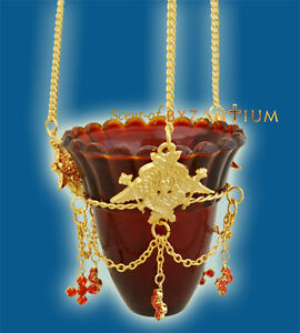 Orthodox Hanging Oil Candle Votive Gold/Nickel Plated & Red Glass Ikonenampel