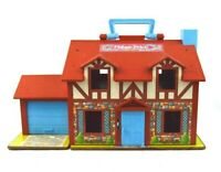 Vintage Fisher Price Little People Brown Tudor House Play Set #952 w/ Furniture