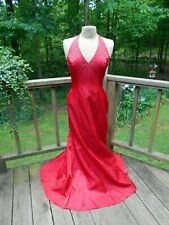 Morgan & Co Red Satin & Beaded Formal Holiday Evening Gown Dress 9/10 Large