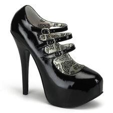 Pleaser Bordello Teeze-05 Black Patent Mary Jane Platform Shoes UK 6 /eu 39