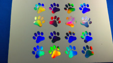 16 1-inch Paw Prints Holographic Car Window Decal Sticker Cat Tracks 5 inch