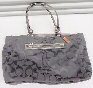 $260 COACH Handbag Signature Pastel Large Silver purple Tote Bag Purse #F14868