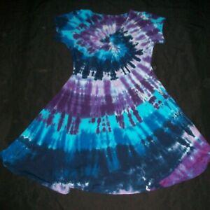 Tie Dye Woman's Twist Front Dress 2XL Blue & Purple Spiral Tye Dyed Hippy XXL 2X