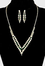 Gold and Dark Emerald Green Cascading Crystal V Shaped Necklace Set