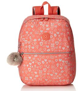 Kipling Medium School Backpack EMERY in HEARTY PINK METALLIC Print BTS19 RRP £77
