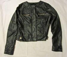 Lady's ATMOSPHERE black FAUX LEATHER JACKET - Biker Style - Size 10-12 excellent