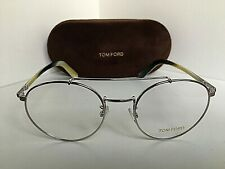 New Tom Ford TF 5337  018 Silver 51mm Round Eyeglasses Frame Italy