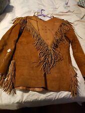 Santa Fe leather company vintage leather long sleeve fringe war shirt