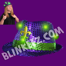 NEW! MARDI GRAS Purple Flashing LED Sequin LightUp Fedora Hats