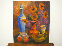 Vintage MID CENTURY MODERN OIL ON MASONITE STILL LIFE PAINTING